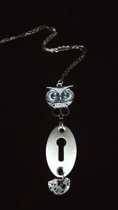 Gatekeeper Owl Necklace- Extra Large Owl Pendant - Upcycled Lock Plate - Recycled Art by owlandcrowseattle on Etsy