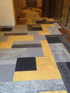 Patchwork with Interface Human Nature skinny planks + cut tiles