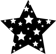 Cartoon | Black and White Starry Star - PNG Free Clip Art