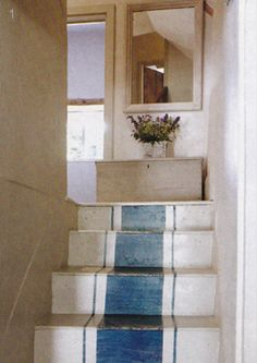 Painted or stained french ticking stripe in concrete stairs from Country Homes & Interiors | August 2011 | via The...