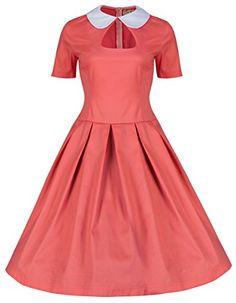 Lindy Bop 'Tuesday' Style Peter Pan Collier Dolly Robe Trapèze De Chic 1950 (36, Coral Pink) Lindy Bop http://www.amazon.fr/dp/B00KW3LVLW/ref=cm_sw_r_pi_dp_klRvub1YB0CFH
