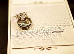 Map of wedding location + rings
