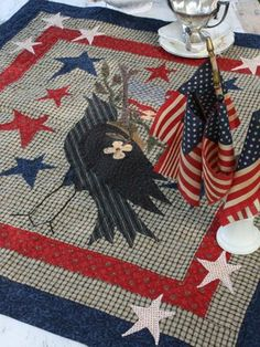 """from """"Small Favorites for All Seasons"""" by Barb Adams & Alma Allen    Blackbird Designs - One stitch at a time: Holiday Tables  folk art applique w/ bird"""