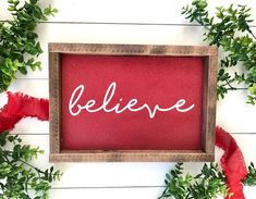 Glitter Believe Christmas Wood Sign. Farmhouse Christmas Decor, Rustic Christmas, Winter Christmas, Christmas Holidays, Christmas Decorations, Farmhouse Decor, Farmhouse Signs, Christmas Swags, Christmas 2017