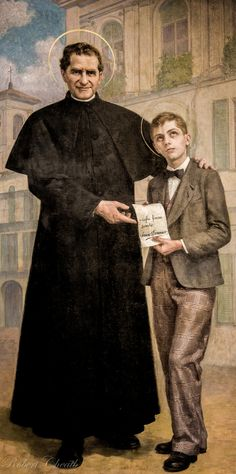 Young Saint Dominic Savio with Saint John Bosco.  Dominic looks like he'd rather be elsewhere.