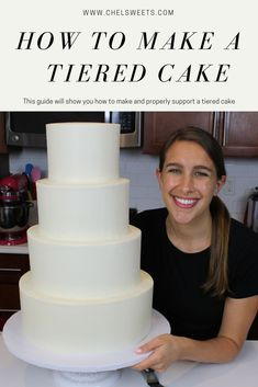 Learn my tips and advice on how to make a tiered cake! I share everything I've learned over the years, along with how I made my wedding cake! cake recipe How To Make Your Own Wedding Cake - Chelsweets Make Your Own Wedding Cakes, Do It Yourself Wedding, Making A Wedding Cake, Blush Wedding Cakes, Big Wedding Cakes, Wedding List, Wedding Places, Diy Wedding, Two Tier Cake