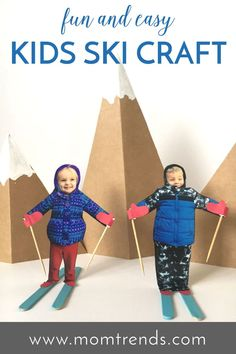 Fun and easy kids ski craft. A great winter craft for kids. MomTrends.com #ski #craft #kidscraft #familyski #kids