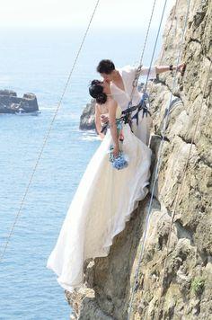 rock climbing engagement photos | Rock Climbing Wedding Photos in Long Dong Taiwan