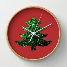 Free Worldwide Shipping Today Only! Christmas tree green sparkles Red Wall Clock by #PLdesign #ChristmasSparkles #SparklesGift #ChristmasGift