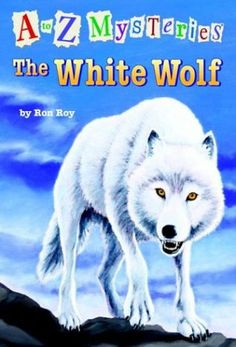"""The White Wolf"" by Ron Roy - Dink, Josh, and Ruth Rose are thrilled to visit Wallis Wallace at her new cabin in the Maine wilderness. On their very first day, they glimpse a white mother wolf and her babies on a cliff nearby. But soon after the kids spy the wolf family, the pups are stolen! Can Dink, Josh, and Ruth Rose sniff out the culprits before the white wolf starts suspecting ""them""? (A to Z Mysteries #23)"