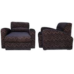 "Pair of Iconic Jay Spectre Art Deco ""Steamer"" Chairs in Jazz Velvet"