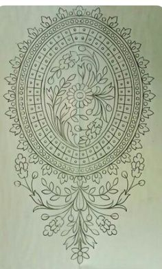 Indian Embroidery Designs, Hand Embroidery Patterns Free, Zardozi Embroidery, Embroidery Flowers Pattern, Hand Embroidery Stitches, Vintage Embroidery, Embroidery Art, Art Nouveau Flowers, Jewelry Design Drawing
