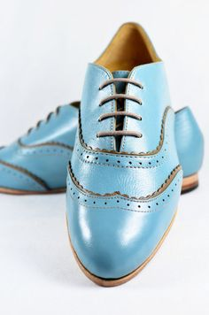 Women's – Handmade Leather Shoes – Light Blue Double Brogue