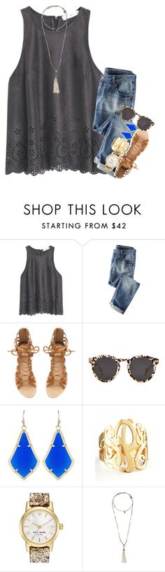 """6 away from 1k!"" by kate-elizabethh ❤ liked on Polyvore featuring MANGO, Zara, Illesteva, Kendra Scott, Jennifer Zeuner, Kate Spade and Bettina Duncan"