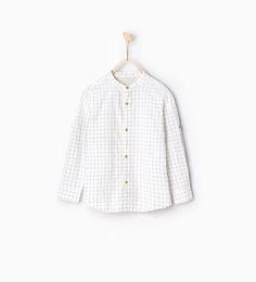 Image 1 of Mandarin collar check shirt from Zara