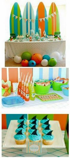 Surf Party Theme Best Picture For pool party de noche For Your Taste You are looking for something, and it is going to tell you. Surfer Party, Hawaian Party, Luau Party, Beach Party Foods, Pool Party Themes, Boy Birthday Parties, Birthday Ideas, Birthday Decorations, First Birthdays