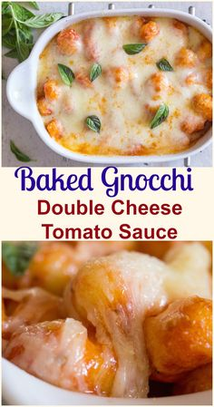 Baked Gnocchi Double Cheese Tomato Sauce a fast and easy pasta recipe, baked in a simple tomato sauce topped with mozzarella & Parmesan. #pasta #gnocchi #Italian #tomato sauce #dinner #easy recipe Sauce Gnocchi, Gnocchi Dishes, Gnocchi Pasta, Baked Gnocchi, Gnocchi Recipes, Easy Pasta Recipes, Pasta Dishes, Food Dishes, Dinner Recipes