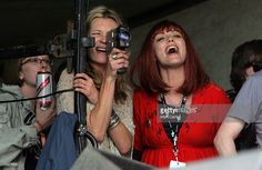 Kate Moss and Mairead Nash (R) watch Pete Doherty perform on The Park Stage at Worthy Farm, Pilton near Glastonbury, on June 24 2007 in Somerset, England. The festival, that was started by dairy farmer Michael Eavis in 1970, has grown into the largest music festival in Europe. This year's festival is the biggest yet and will have headline acts including The Who, The Arctic Monkeys and The Killers.