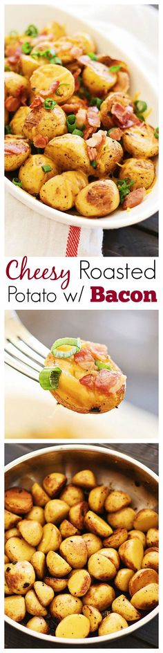 Cheesy Roasted Potatoes with Bacon – mini golden potatoes roasted with garlic, cheddar cheese and bacon | rasamalaysia.com | #potatoes
