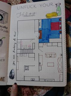 """Via Myraya Strong from Inappropriate bullet journal inspiration """"I may or may not have spent the afternoon cleaning just so I could color in a room on this spread """""""