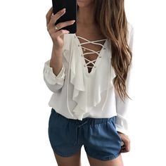 $14.84 - Cool Sexy Chiffon Blouse Ruffle Blusas Mujer Womens Tops Lace Up V Neck Strapped Long Sleeve White Blouse Casual Ladies Tops Shirt - Buy it Now!