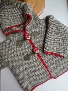 garter stitch knit hooded cardigan