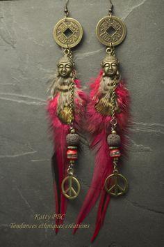 """Boucles d'oreille ethnique """" Dune """" - Plumes, perles et bronze : Boucles d'oreille par tendances-ethniques-creations"""