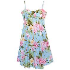 Short, Dress, Hawaiian - Blue Hawaiian Goddess Dress
