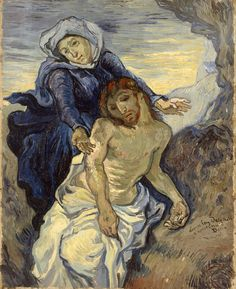 "Pietà // c. 1890 // Vincent van Gogh // Inspired by a lithograph based on Eugène Delacroix's 'Pietà'.Van Gogh painted it for his sister Willemien, to whom he wrote on the subject of his interpretation of the ""Mater dolorosa"", a woman of the people destined to suffering and often rejected by society.  // Collection of Contemporary Art, Vatican City // #Jesus #Christ #VirginMary"