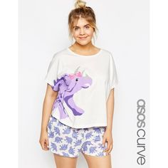 ASOS CURVE Cute Dinosaur Tee & Short Pyjama Set ($33) ❤ liked on Polyvore featuring multi, plus size, white jersey and asos curve
