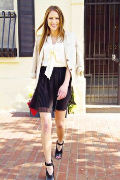 Pleated chiffon skirt + blouse   makes the perfect outfit for brunch. Spotted in Boston.