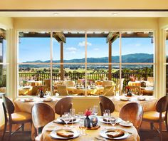 Auberge du Soleil, Napa, CA The wraparound terrace at award-winning chef Robert Curry's Bistro & Bar serves up panoramic views of Napa Valley vineyards and locally sourced cuisine in an effortlessly romantic setting (more casual than the dining room). Whether you want to watch the sun rise with a cup of coffee and a pastry, or sip some bubbly before lamb and potato gnocchi, the outdoor terrace can oblige; the full menu is available all day long.