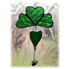 Shamrock Hearts Suncatcher Stained Glass Irish Lucky Love