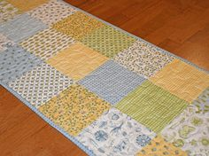 Yellow Blue and Green Patchwork Table Runner Quilted Table