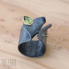 AU $166. Midnight Dew Designer Ring. Oxidised Gold Plated Sterling Silver with Peridot.
