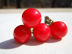 Earrings Red Glass Enamel Double Ball Bead by AngiezillasBoutique, $7.49