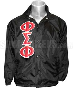Black Phi Sigma Phi crossing jacket with the Greek letters down the right.