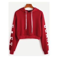 Burgundy Hooded Letters Print Crop Sweatshirt ($15) ❤ liked on Polyvore featuring tops, hoodies, sweatshirts, crop top, cut-out crop tops, red crop top, cropped sweatshirt and red top
