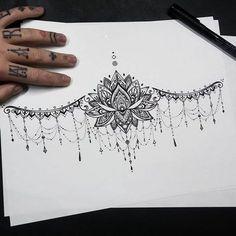 Under the breast tattoo - Brustbein tattoo - Tattoo Designs For Women Diy Tattoo, Lock Tattoo, Hand Tattoo, Piercing Tattoo, Tattoo Ideas, Piercings, Tattoo Fonts, Tattoo Ink, Eyebrow Tattoo