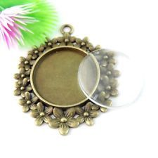 39068 Antique Bronze Alloy Lace Round Cameo Setting Glass Pendant 25*25mm 5Sets
