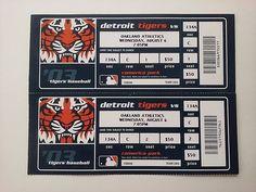 Mlb Detroit Tigers Oakland Athletics Baseball 2003 Den Game Full Ticket Stubs #Athletics