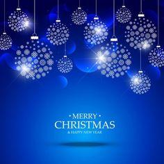 boules de Noël faites avec des flocons de neige suspendus sur fond bleu Vecteur gratuit