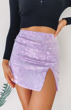 Venus Skirt Lilac Jacquard – Beginning Boutique Purple Outfits, Cute Outfits, Neon Party Outfits, Cute Skirts, Mini Skirts, Mini Skirt Outfits, Tight Skirt Outfit, Tight Skirts, Lavender Outfit