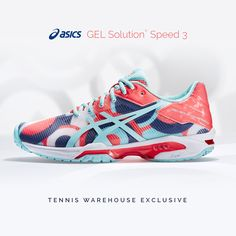 5deea0460 Add new energy into your game with this TW exclusive Gel Solution Speed 3  women s tennis shoe! Revista Tênis