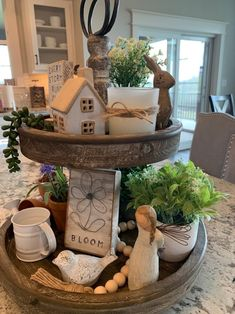 Home Interior Hallway A Spring Garden Tiered Tray - The House on Silverado.Home Interior Hallway A Spring Garden Tiered Tray - The House on Silverado Spring Home Decor, Fall Decor, Diy Home Decor, Country Decor, Farmhouse Decor, Farmhouse Style, Muebles Shabby Chic, Tray Styling, Tiered Stand