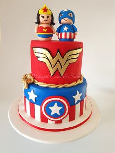 Captain America and Wonder Woman cake