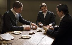 Young guns: Alfred (Matt Milne), Jimmy (Ed Speleers) and Thomas (Rob James-Collier) brig some handsome faces to the Downton staff Downton Abbey Thomas, Downton Abbey Series, Ed Speleers, Rob James Collier, Public Television, Season 4, Bad Boys, Playing Cards, Young Guns