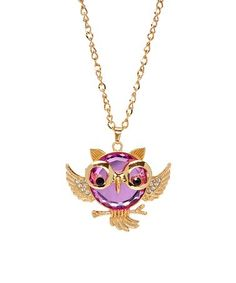 Look what I found on #zulily! Pink Owl With Glasses Pendant Necklace #zulilyfinds