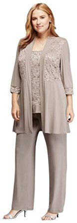 Plus Size Mock Two Piece Lace and Jersey Pant Suit Style 7772W, Mocha, 14W