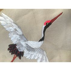 Embroidered crane on leather | Ellie Mac Embroidery |